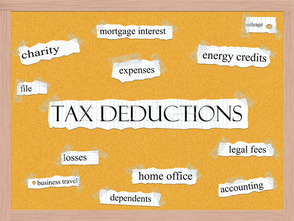 Tax Deductions Corkboard Word Concept Stock photo © mybaitshop