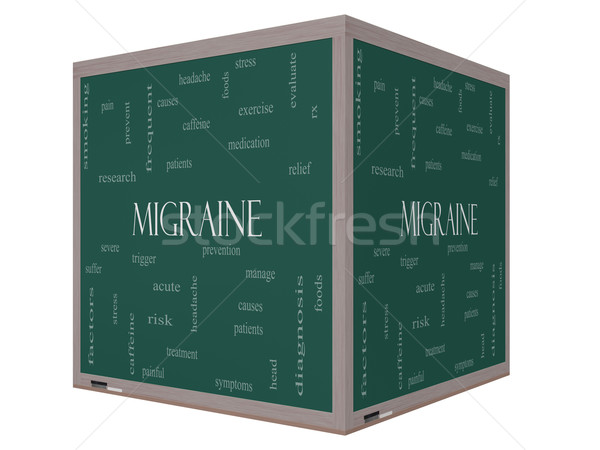 Migraine Word Cloud Concept on a 3D cube Blackboard Stock photo © mybaitshop