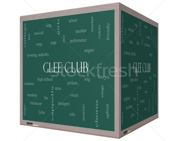 Glee Club Word Cloud Concept on a 3D cube Blackboard Stock photo © mybaitshop