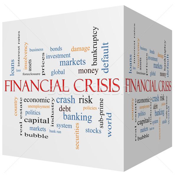 Foto stock: Crise · financeira · 3D · cubo · nuvem · da · palavra · global