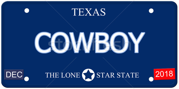 Cowboy Texas imitation plaque d'immatriculation faux mot Photo stock © mybaitshop