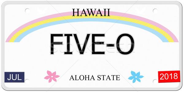 Hawaii targa scritto imitazione aloha Foto d'archivio © mybaitshop