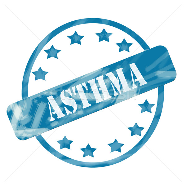 Blue Weathered Asthma Stamp Circle and Stars Stock photo © mybaitshop