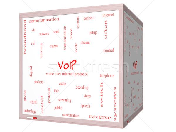 Voip szófelhő 3D kocka tábla nagyszerű Stock fotó © mybaitshop