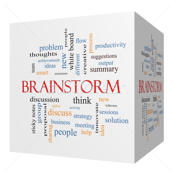 Brainstorm 3D cube Word Cloud Concept Stock photo © mybaitshop