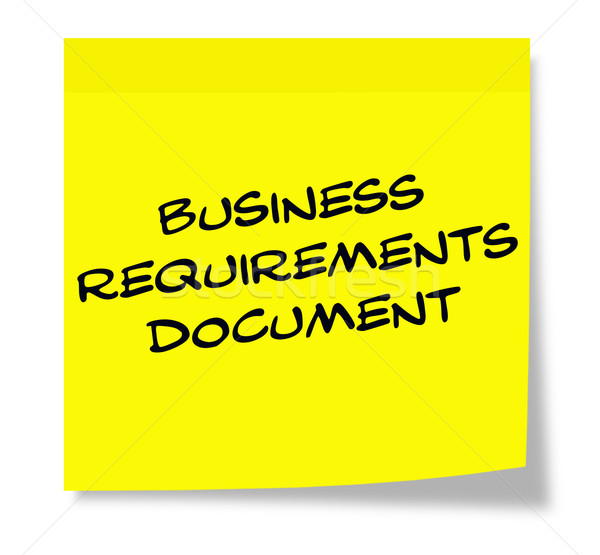 Business Requirements Document written on a yellow sticky note Stock photo © mybaitshop