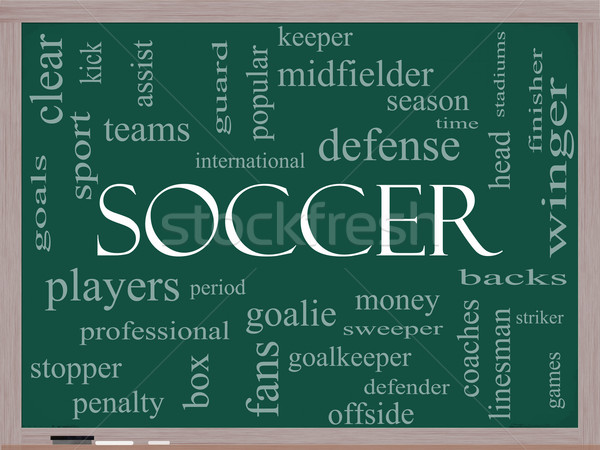 Soccer Word Cloud Concept on a Blackboard Stock photo © mybaitshop