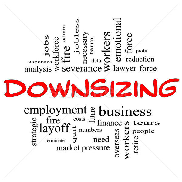 Downsizing Word Cloud Concept in red & black Stock photo © mybaitshop
