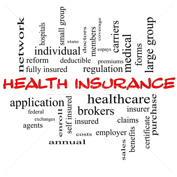Health Insurance Word Cloud Concept in red caps Stock photo © mybaitshop