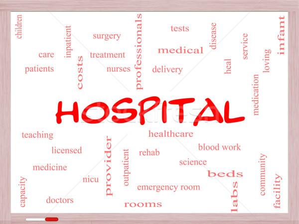 Kórház szófelhő tábla nagyszerű orvosok nővérek Stock fotó © mybaitshop