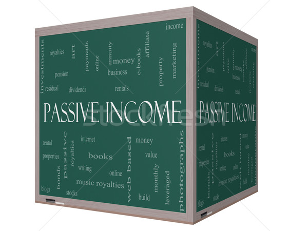 Passive Income Word Cloud Concept on a 3D cube Blackboard Stock photo © mybaitshop