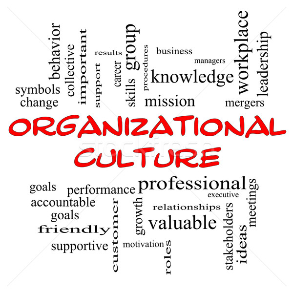 Organizational Culture Word Cloud Concept in red caps Stock photo © mybaitshop