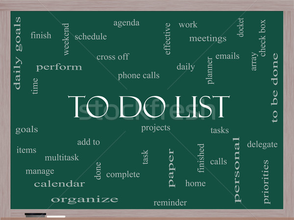 Stock photo: To Do List Word Cloud Concept on a Blackboard