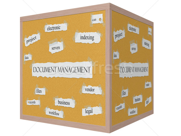 Document Management 3D cube Corkboard Word Concept Stock photo © mybaitshop