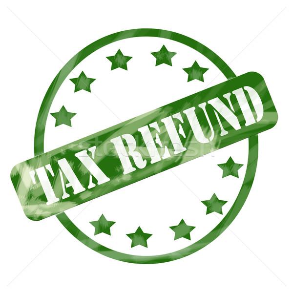 Green Weathered Tax Refund Stamp Circle and Stars Stock photo © mybaitshop