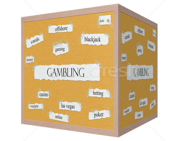Gambling 3D cube Corkboard Word Concept Stock photo © mybaitshop