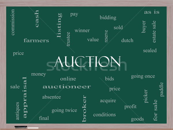 Auction Word Cloud Concept on a Blackboard Stock photo © mybaitshop