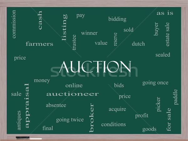 Leilões nuvem da palavra lousa preço on-line Foto stock © mybaitshop