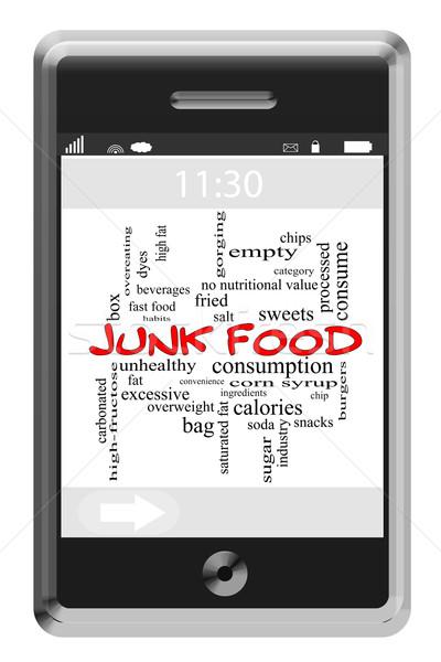 Egészségtelen étel szófelhő érintőképernyő telefon nagyszerű sültkrumpli Stock fotó © mybaitshop