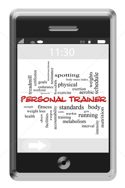 Personal Trainer Word Cloud Concept on Touchscreen Phone Stock photo © mybaitshop
