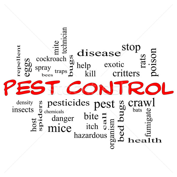 Pest Control Word Cloud Concept in red caps Stock photo © mybaitshop