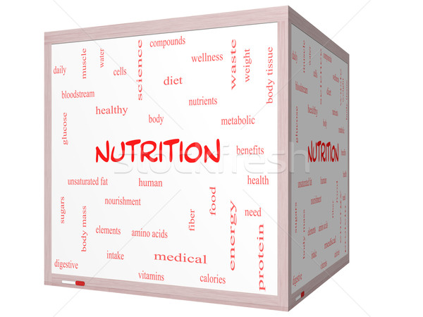 Stock photo: Nutrition Word Cloud Concept on a 3D cube Whiteboard