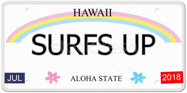 Up Hawaii plaque d'immatriculation écrit imitation aloha Photo stock © mybaitshop