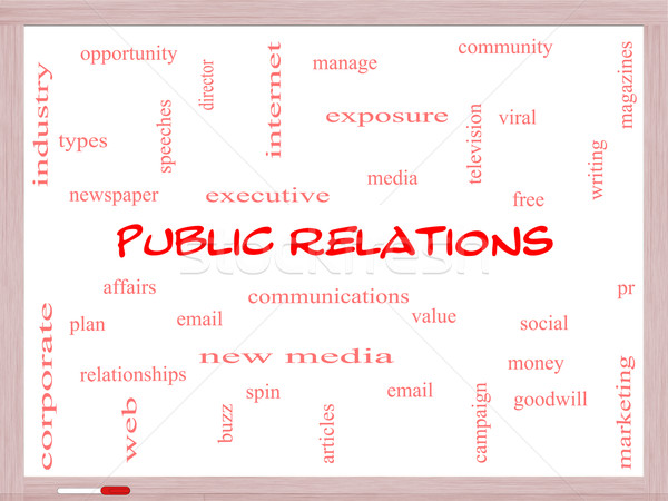 Public Relations Word Cloud Concept on a Whiteboard Stock photo © mybaitshop