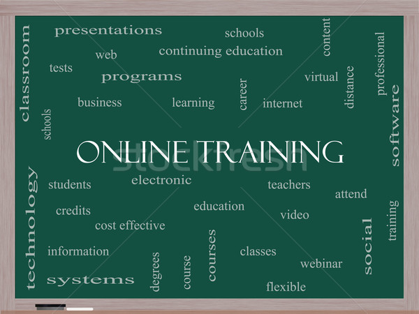 Online Training Word Cloud Concept on a Blackboard Stock photo © mybaitshop