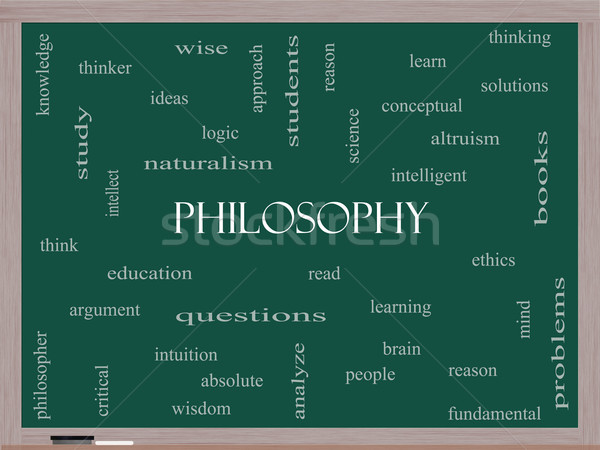 Philosophy Word Cloud Concept on a Blackboard Stock photo © mybaitshop