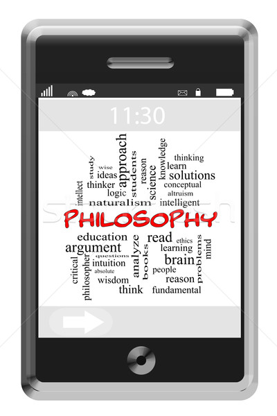 Philosophy Word Cloud Concept on a Touchscreen Phone Stock photo © mybaitshop