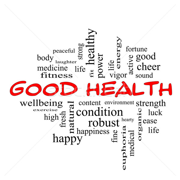 Good Health Word Cloud Concept in red caps Stock photo © mybaitshop