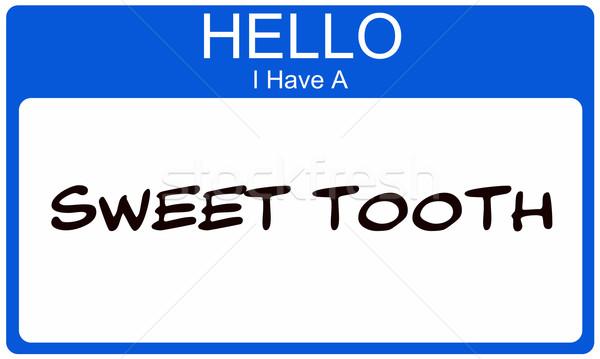 Kék hello édes fog névtábla matrica Stock fotó © mybaitshop