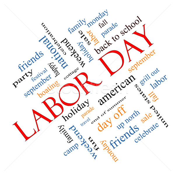 Labor Day Word Cloud Concept Angled Stock photo © mybaitshop