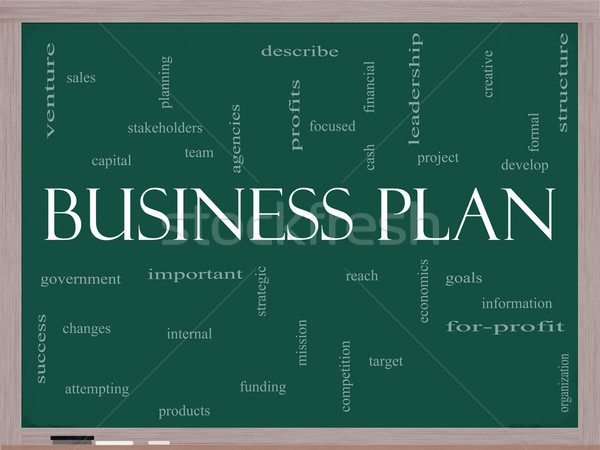 Business Plan Word Cloud Concept on a Blackboard Stock photo © mybaitshop