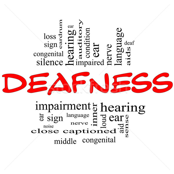 Deafness Word Cloud Concept in red & black Stock photo © mybaitshop