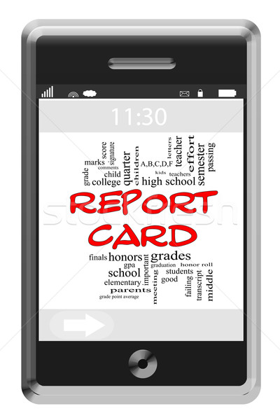 Report Card Word Cloud Concept on Touchscreen Phone Stock photo © mybaitshop