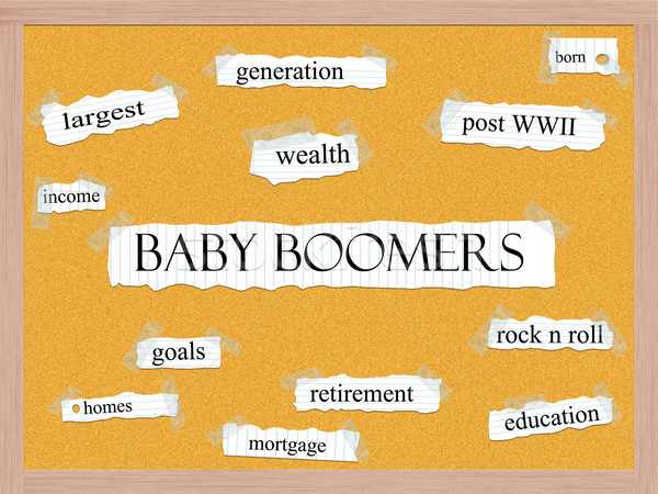 Baby Boomers Corkboard Word Concept Stock photo © mybaitshop