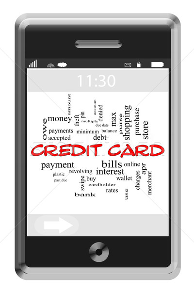 Credit Card Word Cloud Concept on Touchscreen Phone Stock photo © mybaitshop