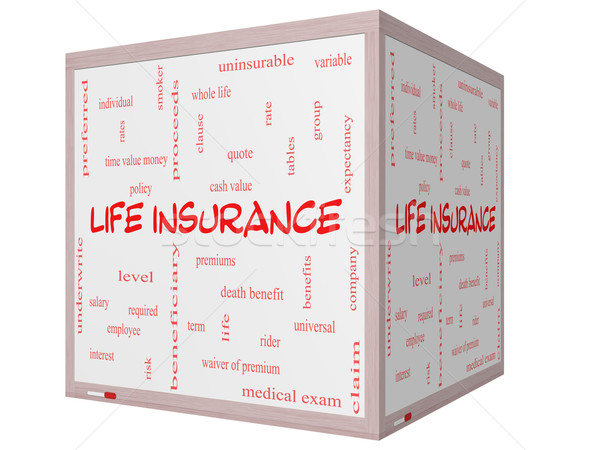 Life Insurance Word Cloud Concept on a 3D Cube Whiteboard Stock photo © mybaitshop