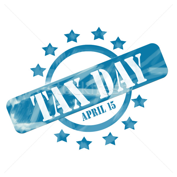 Blue Weathered Tax Day April 15th Stamp Circle and Stars design Stock photo © mybaitshop