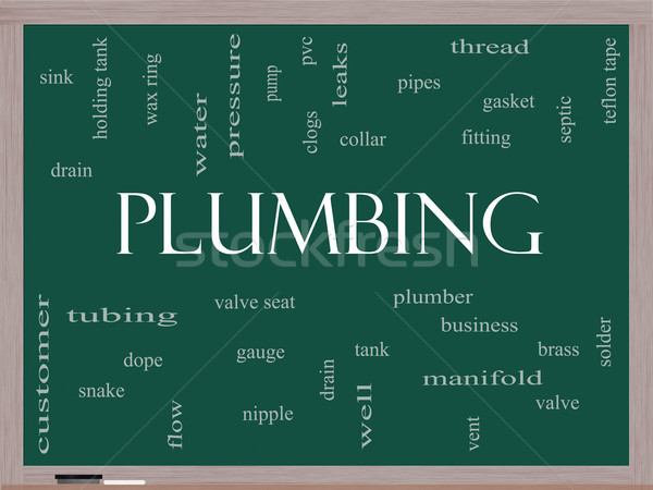 Plumbing Word Cloud Concept on a Blackboard Stock photo © mybaitshop