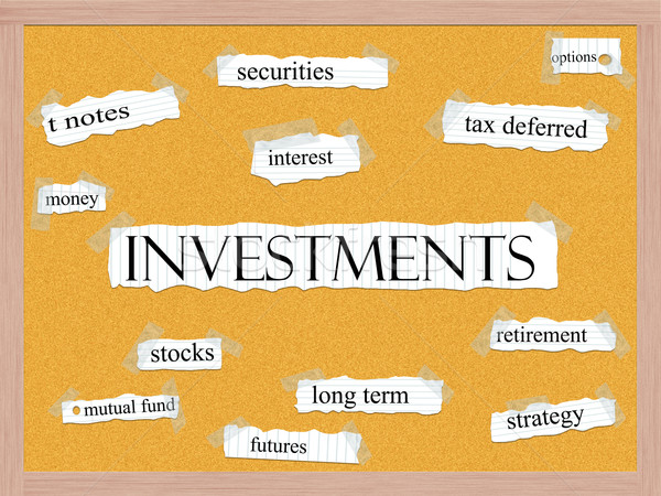 Investments Corkboard Word Concept Stock photo © mybaitshop