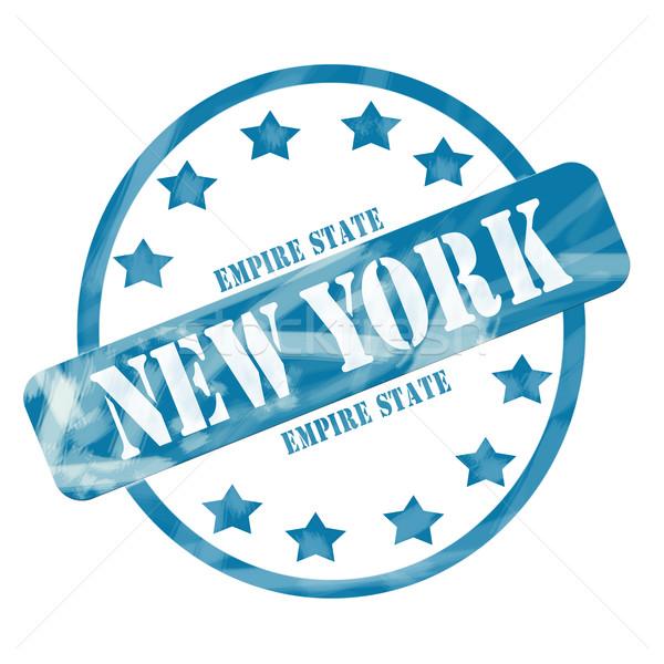 Blue Weathered New York Empire State Stamp Circle and Stars Stock photo © mybaitshop