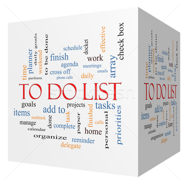To Do List 3D cube Word Cloud Concept Stock photo © mybaitshop