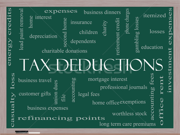 Tax Deductions Word Cloud Concept on a Blackboard Stock photo © mybaitshop
