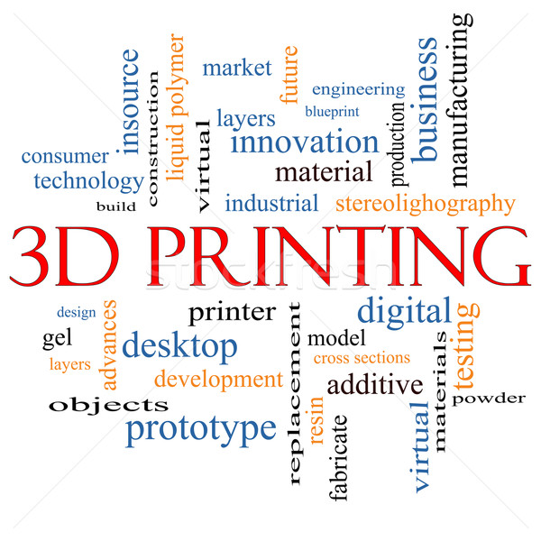 3D impressão nuvem da palavra digital camadas Foto stock © mybaitshop