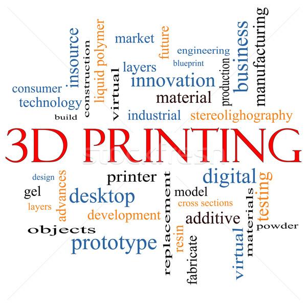 3D Printing Word Cloud Concept Stock photo © mybaitshop