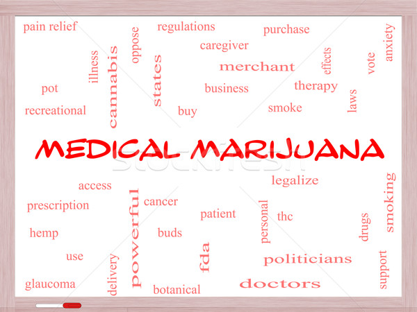 Medical Marijuana Word Cloud Concept on a Whiteboard Stock photo © mybaitshop