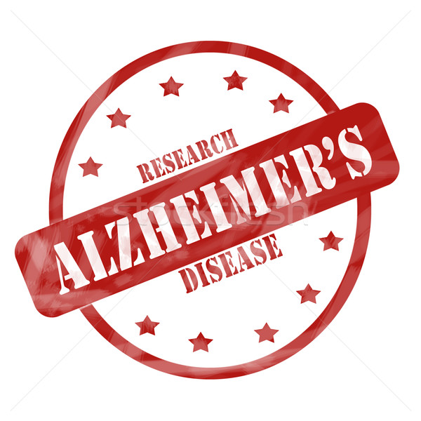 Red Weathered Alzheimer's Disease Research Stamp Circle and Stars Stock photo © mybaitshop